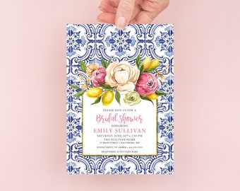 Lemon and Pink Floral Bridal Shower Invitation - Portuguese Blue Tile and Lemon