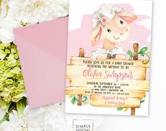 Pink Lamb Baby Shower Invitation