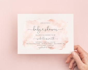 Blush Pink Watercolor Baby Shower Invitation