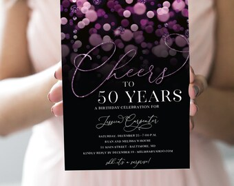 Purple Surprise 50th Birthday Party Invitation - Cheers to 50 Years - with Purple Glitter Bokeh Fifty and Fabulous PRINTABLE