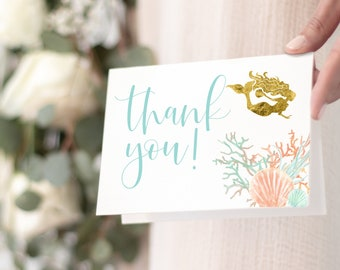 Under the Sea Mermaid Thank You Notes