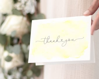 Gender Neutral Yellow Watercolor Baby Shower Thank You Notes