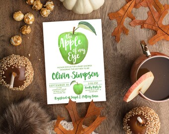 GREEN Apple of My Eye Baby Shower Invitation