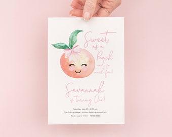 Sweet as a Peach and So Much Fun - First Birthday Invitation - Peach 1st Birthday Party Invite - One Sweet Peach
