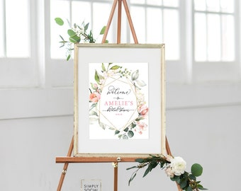 Pink Floral Bridal Shower Welcome Sign - Geometric Blush Pink Flowers - Baby Shower - Peony Roses Greenery Sign Watercolor Printable