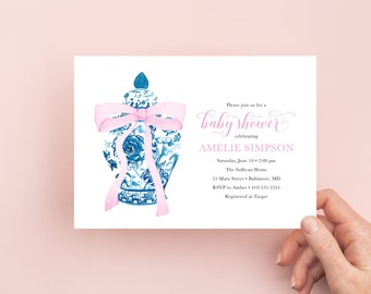 Preppy Pink Bow Ginger Jar Baby Shower Invitation