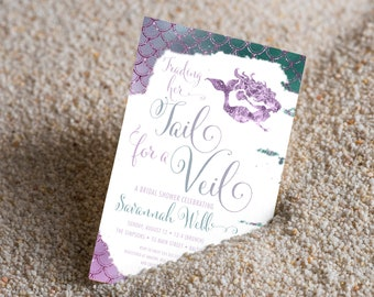 Trading her Tail for a Veil Bridal Shower Invitation, Sea of Love, Beach Invitation, Under the Sea