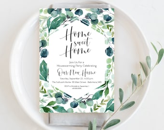 Eucalyptus Leaves Housewarming Party Invitation