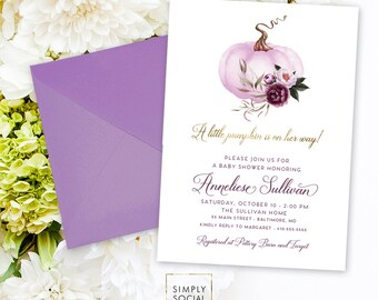 Purple Pumpkin Baby Shower Invitation - It's a Girl Watercolor Pumpkin Baby Shower Purple Peony Little Pumpkin is on the way Printable