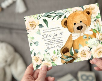 Yellow Floral Teddy Bear Baby Shower Invitation - Gender Neutral, Watercolor Modern Baby Shower Yellow Little Cub Printable