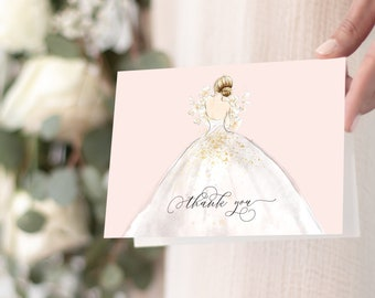 Blush Bride in a Gown Thank You Notes