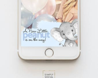 Elephant Snapchat Geofilter - Boho Elephant Baby Shower Watercolor Elephant Little Peanut Baby Shower