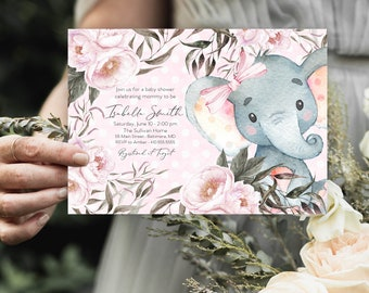 Pink Elephant Floral Baby Shower Invitation - Pink Flowers - Little Peanut - Peony Roses Greenery Invitation Watercolor Printable