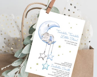 Blue Elephant - Twinkle Little Star Baby Shower Invitation - Twinkle Twinkle - Baby Sprinkle - It's a Boy - Baby Boy - Moon and Stars Invite