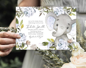 Blue Elephant Floral Baby Shower Invitation - Dusty Blue Flowers - Little Peanut - Peony Roses Greenery Invitation Watercolor Printable