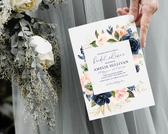 Blush and Navy Floral Bridal Shower Invitation - Blush Pink Flowers - Baby Shower - Peony Roses Greenery Invitation Watercolor Printable