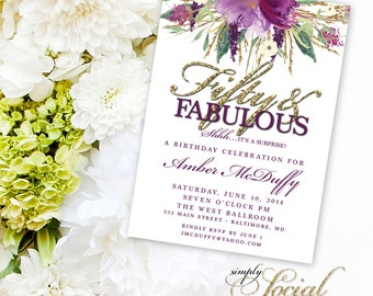 Glitter Glam Sparkling Amethyst Purple Watercolor Flowers Fifty and Fabulous Invitation Printable 50th birthday