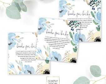 INSTANT DOWNLOAD Boho Blue Floral Books for Baby - Dusty Blue Book instead of a card Printable insert card baby shower