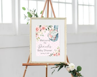 Pink Floral Elephant Baby Shower Welcome Sign - Little Peanut - Baby Elephant