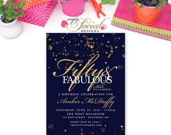 Sapphire Confetti Birthday Invitation Surprise 60th 50th 40th 30th  Fifty and Fabulous PRINTABLE blue The Jewel Collection Glitter Glam