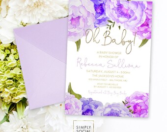 Purple Floral Baby Shower Invitation