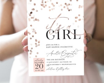 Pink Rose Gold Confetti Baby Shower Invitation