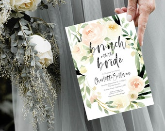 White Floral Bridal Shower Invitation - Cream Flowers - Brunch with the Bride - Peony Roses Greenery Invitation Watercolor Printable