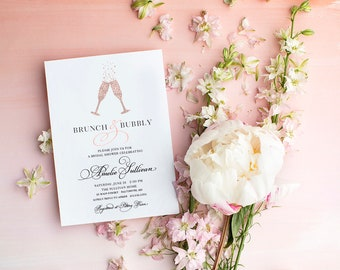 Rose Gold Brunch and Bubbly Champagne Bottle Bridal Shower or Baby Shower Invitation