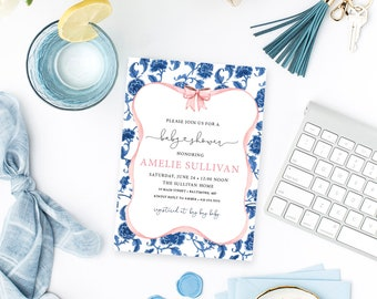 Blue Chinoiserie and Pink Ribbon Baby Shower Invitation