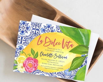 La Dolce Vita - Tuscan Lemon and Fuschia Floral Bridal Shower Invitation - Portuguese Blue Tile and Lemon Bridal Shower Invitation