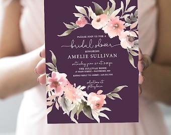 Fall Eggplant Floral Greenery Bridal Shower Invitation