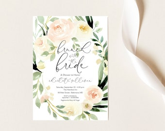 Brunch with the Bride, Pink Floral Bridal Shower Invitation, Blush Pink Flowers - Printed Invitations - Greenery Invitation Watercolor