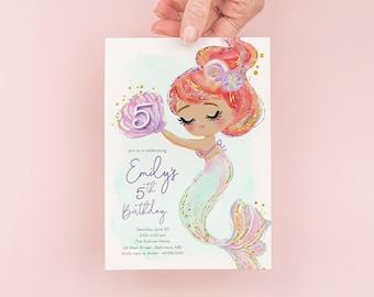 Mermaid Birthday Party Invitation - Under the Sea Birthday Party Invitation - Pastel Tan Mermaid Theme Birthday Invite - Watercolor Mermaid