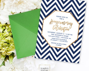 Housewarming Party Invitation - Faux Gold Foil Modern Calligraphy Classy Navy and White Chevron New Home New House Printable