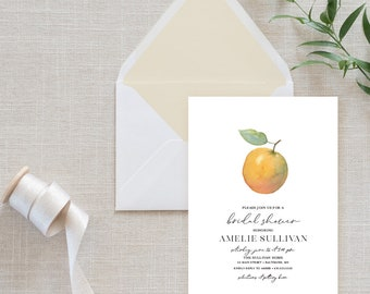 Citrus Orange Bridal Shower Invitation