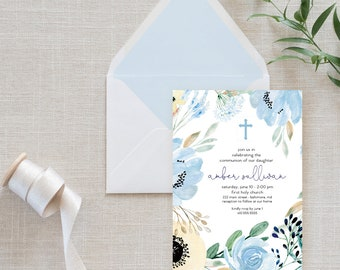Blue Floral First Holy Communion Invitation