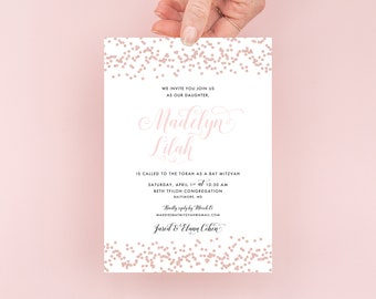 Rose Gold Glitter Confetti Bat Mitzvah Invitation