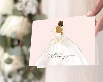 Blush African American Bride in a Gown Thank You Notes
