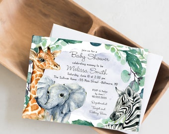 Baby Boy Jungle Animals Baby Shower Invitation - Greenery Watercolor Elephant Giraffe Zebra - Safari Baby Shower