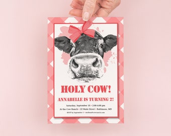 Holy Cow - Red Gingham Birthday Party Invitation - Girl Farm Party Invites - Girl Birthday Party Invitation - Red Cow Birthday Invitation