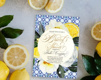 Blue and White Tile Tuscan Lemon Bridal Shower Invitation