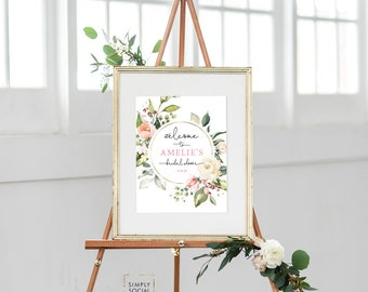 Pink Floral Bridal Shower Welcome Sign - Floral Wreath Blush Pink Flowers - Baby Shower - Peony Roses Greenery Sign Watercolor Printable