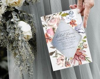 French Blue Floral Bridal Shower Invitation