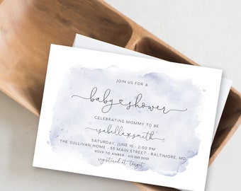 Dusty Blue Watercolor Baby Shower Invitation