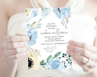 Something Blue - Floral Bridal Shower Invitation