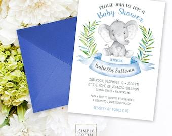 Elephant Baby Shower Invitation - Blue Boho Elephant It's A Boy Jungle Leaves Baby Shower Invitation Watercolor Calligraphy Printable