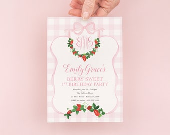 Berry Sweet First Birthday Invitation - Preppy Pink Monogram - Strawberry Watercolor Crest - Gingham Bow Party - Berry First Birthday