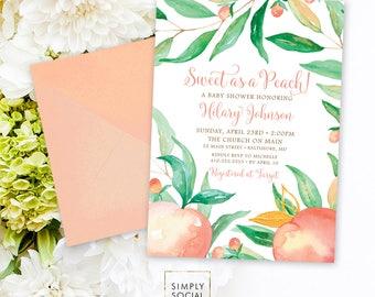 Sweet as a Peach Baby Shower Invitation - Watercolor Peach Bridal Shower Invite Birthday Invite Printable Sweet as a Peach Sweet Peach