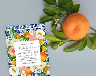 Orange Blossom Tuscan Tile Bridal Shower Invitation  - Printed Invitations - Mimosa Invitation