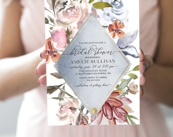 French Blue Floral Bridal Shower Invitation